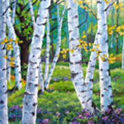 Alpine Flowers And Birches  Art Print