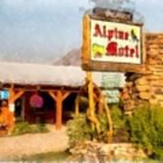 Alpine Motel Vintage Roadside Oasis Yellowstone Art Print