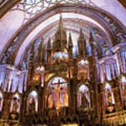 Alter Inside Basilica Of Notre Dame, Montreal, Quebec, Canada. Art Print
