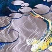 Aluminum Print, Koi Fish Print On Metal. Fish Art - Yellow - Blue - Green 3d Painting Of Koi Fish, A Art Print