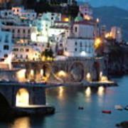 Amalfi Coast At Night Art Print