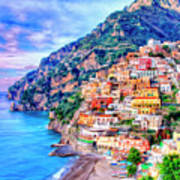Amalfi Coast At Positano Art Print