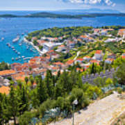 Amazing Historic Town Of Hvar Aerial View Art Print