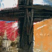Amen Contemporary Cross- Art By Linda Woods Art Print