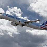 American Airlines Airbus A321 Art Print