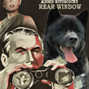 American Akita Art Canvas Print - Rear Window Movie Poster Art Print