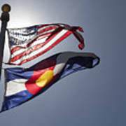 American And Colorado Flags Art Print