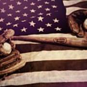 American Baseball Grunge Art Print