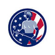 American Coal Miner Usa Flag Icon Art Print