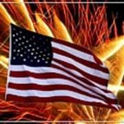 American Flag And Fireworks Art Print