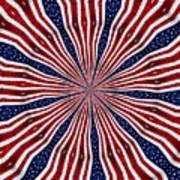 American Flag Kaleidoscope Abstract 6 Art Print