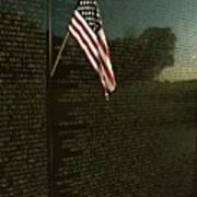 American Flag Left At The Vietnam Art Print by Medford Taylor