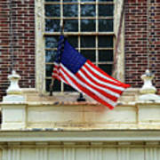 American Flag On An Old Building Art Print