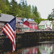 American Flag On Creek Street Ketchikan Alaska Art Print