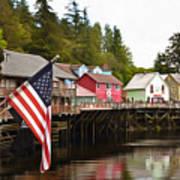 American Flag On Creek Street Ketchikan Alaska Painting Art Print