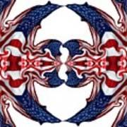 American Flag Polar Coordinate Abstract 1 Art Print