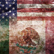 American Mexican Tattered Flag  Art Print