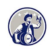 American Patriot Carry Beer Keg Circle Retro Art Print