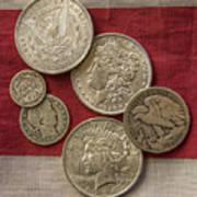 American Silver Coins Art Print by Randy Steele