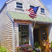 Bike And Usa Flag - Americana Series 04 Art Print