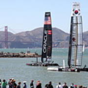 America's Cup Racing Sailboats In The San Francisco Bay - 5d18253 Art Print