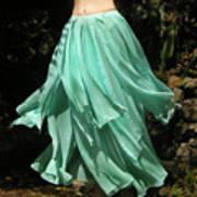 Ameynra Design Aqua-green Chiffon Skirt Art Print