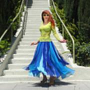 Ameynra Fashion. Petal Skirt. Model Sofia Art Print