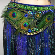 Ameynra Fashion Skirt With Peacock Feathers Art Print