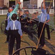 Amish Boys Play Volleyball Farm Art Print