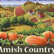 Amish Country T Shirt - Pumpkin Patch Country Farm Landscape 2 Art Print
