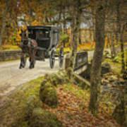 Amish Horse And Buggy Crossing A Bridge Art Print