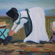 Amish Picking Peas Art Print by Francine Frank