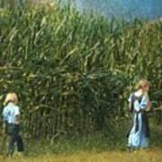 Amish Siblings In Cornfield  Art Print