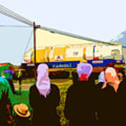 Amish Watching A Nuclear Reactor Go By Art Print