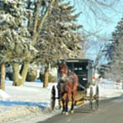 Amish Winter Art Print by David Arment
