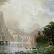 Among The Sierra Nevada Mountains California Art Print by Albert Bierstadt