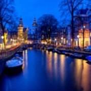 Amsterdam - A Canal Scene At Night . L B Art Print