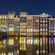 Amsterdam Canal Houses At Night Art Print