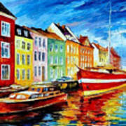 Amsterdam-city Dock - Palette Knife Oil Painting On Canvas By Leonid Afremov Art Print
