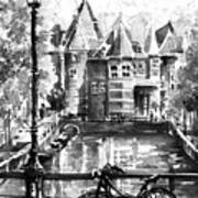 Amsterdam In Black And White Art Print