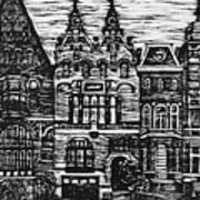 Amsterdam Woodcut Art Print