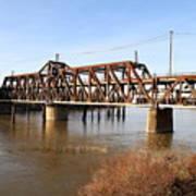 Amtrak California Crossing The Old Sacramento Southern Pacific Train Bridge . 7d11674 Art Print