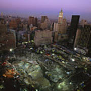 An Aerial View Of Ground Zero Print by Ira Block