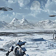 An Alien Base Located In The Antarctic Art Print