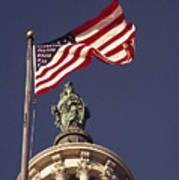 An American Flag And The Statue Print by Medford Taylor