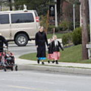 An Amish Family Going For A Walk Art Print