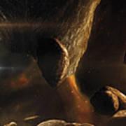 An Asteroid Field Next To An Earth-like Art Print