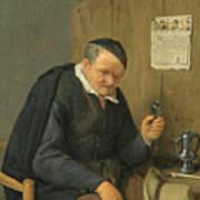 An Elderly Man Seated Holding A Wineglass Art Print