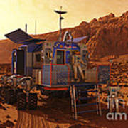 An Explorer Departs A Manned Rover Ina Art Print