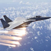 An F-15 Eagle Releases Flares Art Print